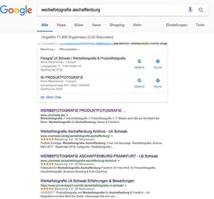 """Suchmaschinenoptimierung: Suchergebnis bei Google für die Suchphrase """"Werbefotografie Aschaffenburg"""""""